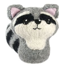 Felted Animal for Baby Mobile. Ravelry: Felted Knit Amigurumi Raccoon pattern by Crafty Alien