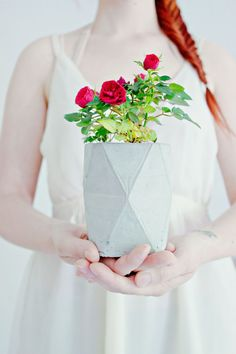DIY geometric concrete flower planter with full how to tutorial