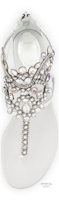 Rene Caovilla Crystal Chandelier Thong Sandal, White Iridescent   LOLO