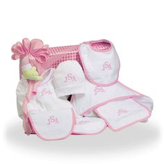 Personalized Cotton Only Baby Girl Gift Set Price: $145.00 #GiftBaskets4Baby #Girl #gifts #giftbaskets #Baby For more information visit: www.GiftBaskets4Baby.com