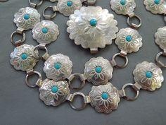 "Vintage Southwestern Style Silver Tone Faux Turquoise Concho Belt 32"""