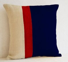 Burlap Pillows -Navy Blue Burlap Pillow color block - Blue Decorative cushion cover- Navy Throw pillow -18 inch square -4th of July Pillow