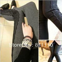 Trend knitting  2013 New women's pants Pure cotton fashion sexy side Lace stitching Slim leggings Size M,L $8.28 - 12.97