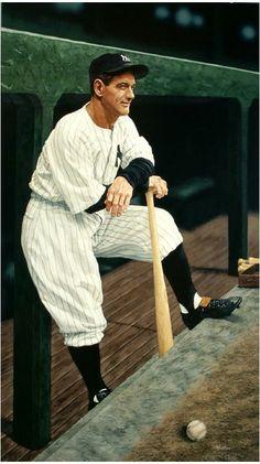 June 19, 1903: Birthday of baseball great Lou Gehrig, in East Harlem, New York City.   Lou Gehrig, 1997, by Arthur K. Miller.  Acrylic on masonite. Gift of Ivan C. & Marilyn Gelfman Karp, New-York Historical Society, 2010.26.1.