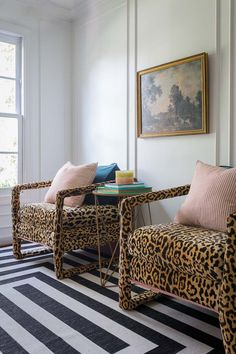 Buying shiny new things is fun and all, but there's no better feeling than taking something ugly and making it pretty. Crushing hard on 's recent leopard chair makeover DIY (check out her page to see the before). How perfect are they? Home Design, Home Interior Design, Interior Ideas, Design Design, Leopard Chair, Leopard Room, Leopard Home Decor, Leopard Wall, Cheetah Print