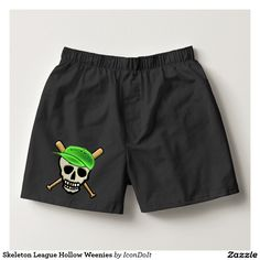 """#Skeleton League Hollow Weenies Boxers - Have a party in your pants with this fun pair of boxers featuring Leslie Sigal Javorek's funny original design of a pair of crossed baseball bats behind a smiling gold toothed Skull that's wearing an almost neon green baseball cap; his team name """"Hollow Weenies"""" emblazoned across the front. For #baseball_fans, #Halloween revelers, swashbuckling #pirates ... See more @ www.zazzle.com/icondoit+halloween+gifts?rf=238155573613991097&tc=pnt"""