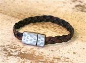 Men's Artisan Braided Leather Hammered Bracelet - Dk. Brown