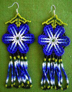 Mexican Huichol Beaded flower earrings by Aramara on Etsy, $7.00