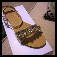 Brand new with tags rhinestone jeweled sandals Perfect summer sandal so pretty and sparkly! Love the rhinestones ! JustFab Shoes