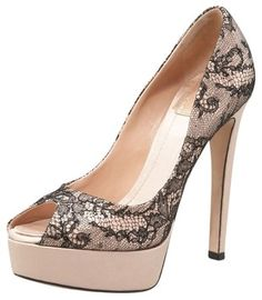 Christian Dior Satin Lace Platform Nude And Black Pumps