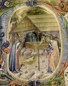 Historiated initial 'P' depicting the Nativity (vellum) (detail of 177388), Franchi, Rossello (1377-1456) and Torelli, Filippo (1409-68) / Museo dell'Opera del Duomo, Prato, Italy / The Bridgeman Art Library
