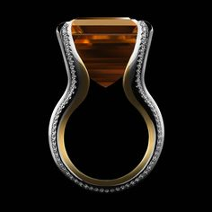 Asscher-Cut Honey Citrine Diamond Gold Platinum Cocktail Ring | From a unique collection of vintage cocktail rings at https://www.1stdibs.com/jewelry/rings/cocktail-rings/