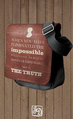 SHERLOCK HOLMES - shoulder bag , quotation. $30.00, via Etsy.