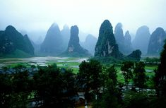 The Karstic Peaks at Guilin, Located along the Li River in the Yangshou region of China
