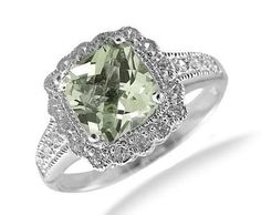 ❤ 7MM Cushion Cut Green Amethyst Ring In Sterling Silver ❤