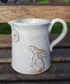 Handmade stoneware ceramic 'Moon Gazing Hare' jug, glazed in a beautiful shiny white glaze by ClairePorterCeramics on Etsy