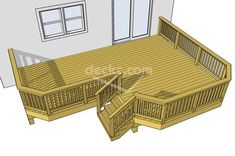 This is a very popular deck design. It features a compact plan with a primary area perfect for entertaining as well as a secondary area for grilling. Cool Deck, Diy Deck, Outdoor Spaces, Outdoor Living, Outdoor Decor, Free Deck Plans, Wood Deck Designs, Small Deck Designs, Deck Cost