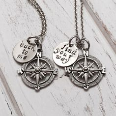 Compass necklace customized mother daughter by Toodaughters