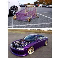 Slammed cart & SLAMmed kouki that purple and gold Tuner Cars, Jdm Cars, Car Memes, Car Humor, R34 Gtr, Roadster Car, Nissan 240sx, Japan Cars, Import Cars