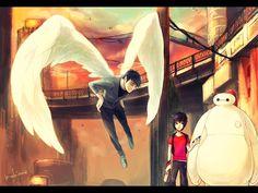 big hero 6, marvel, disney, baymax, hiro hamada, tadashi hamada, 4:3 aspect ratio, 2boys, angel, angel wings, multiple boys, robot, wings | Sankaku Channel