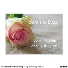 Pink roses floral Wedding Save the Date card