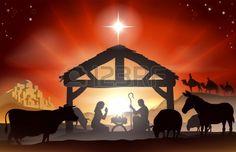 Natale cristiano presepe con il bambino Gesù nella mangiatoia in silhouette, tre saggi o re, animali da fattoria e Stella di Betlemme Archivio Fotografico