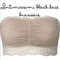PRICE FIRM  Intimissimi BLACK lace bandeau A simply sexy bandeau bra in medium size. For those deep necklines...                                            Price is firm  Intimissimi Intimates & Sleepwear Bandeaus