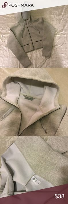 NWOT Athleta Cropped Scuba Zip Up Gray Hoodie Brand new without the tags, perfect condition. Athleta Tops Sweatshirts & Hoodies