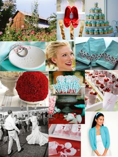 turquoise and red wedding | The bride and groom are planning an aqua and red celebration in a barn ...