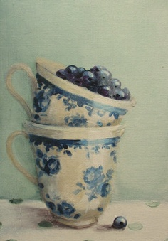 """""""A BOUNTY OF BLUE"""", Blueberries in Teacups Painting original painting,  free USA shipping., via Etsy. SOLD"""