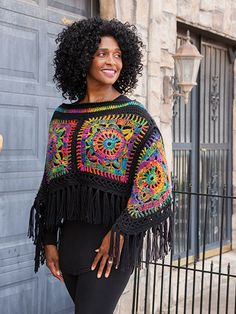 Poncho Peace Out! Poncho & Headband Crochet Pattern by Lena Skvagerson from Annie's Signature Designs www. Crochet Bolero, Gilet Crochet, Crochet Poncho Patterns, Crochet Shawls And Wraps, Crochet Cardigan, Knit Crochet, Headband Crochet, Crochet Vests, Scarf Patterns