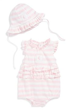 Kissy Kissy 'Mainsail' Ruffle Pima Cotton Bubble Romper & Sun Hat (Baby Girls) available at #Nordstrom