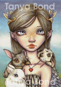 BUNNY KEEPER - surreal pop fantasy art girl angel rabbits- 5x7 print of an original painting by Tanya Bond