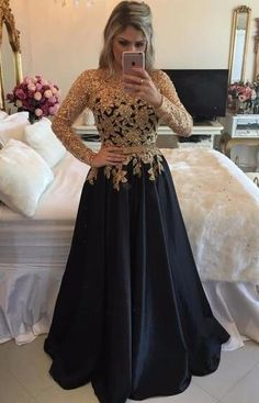 Long Sleeve Black Prom Dresses With Gold Sequins, Sexy Prom/Evening Dress,A Line Black Satin Pageant Prom Dresses, Jewel Neck Black Gala Dresses Plus Size , Formal Black Evening Dress,Customize Gold Beaded Party Dress