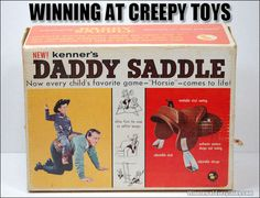 """A funny, strange and weird toy: The """"Daddy Saddle"""". Maybe letting your kids ride you all day may make people think you're a bit odd. Tennessee Williams, Creepy Toys, Weird Toys, Parenting Fail, Friday Humor, Awkward Moments, Wtf Moments, Vintage Advertisements, Retro Ads"""