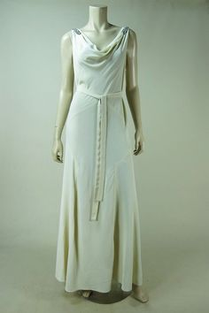 1930's Ivory Rayon Crepe Bias-Cut Evening Gown With Rhinestones