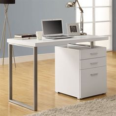 White left or right facing desk with drawers. Stylish but functional. Take a look: http://www.lowes.ca/desks/monarch-specialties-i-7027-hollow-core-left-or-right-facing-desk-with-drawers_g1294473.html?isku=9549007