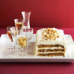 Maple-infused mascarpone cream tops this sumptious Pumpkin Tiramisu Cake