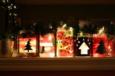 Xmas Holiday Jars.  Could use string lights or battery LED candles.