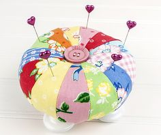 Super cute pin cushion accented with a button. Sew sweet!