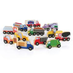 Guidecraft™ The Wooden Truck Collection Set includes wooden vehicles such as a cement mixer, sanitation truck and moving truck to enhance dramatic block play.