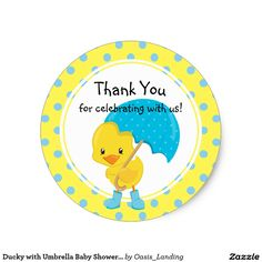 Ducky with Umbrella Baby Shower Thank You Classic Round Sticker - A cute little ducky with a blue umbrella and polka dot trim with a Thank You message. Sold at Oasis_Landing on Zazzle. #babyshower