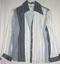 """Unique Striped Print Shirt by B.Moss Fits up to 44""""Bust Size Large $12.00"""