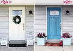 Easy curb appeal update: Paint your front door a fun color!