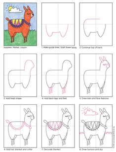 How to Draw an Alpaca. Free PDF tutorial available. In case you need to learn how to draw an Alpaca, here's the perfect tutorial for you. You can add a fancy blanket and and bell for some extra color. Alpacas, Drawing Lessons, Art Lessons, Doodle Drawings, Easy Drawings, Drawing For Kids, Art For Kids, How To Draw Kids, Drawing Drawing