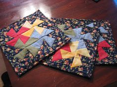 square dance quilted mug rugs