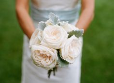 Lush garden rose and dusty miller bouquet