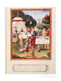 Banquet Scene The earl under the musket, unknown artist related to Cristoforo de' Predis, 15th Century, miniature - Italy, Lombardy, Milan, Castello Sforzesco, Civic Collection of Art, Trivulziana Library.