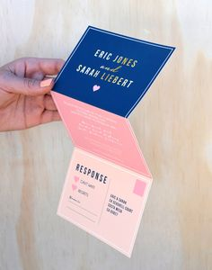 Modern wedding invitation,navy and gold wedding invitation,coral wedding invitation,rsvp postcard, fun wedding invitation, folded invitation on Etsy, $6.00