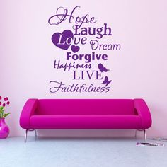 Style and Apply Hope Laugh Live Quote Phrases Wall Decal (24in x 28in )